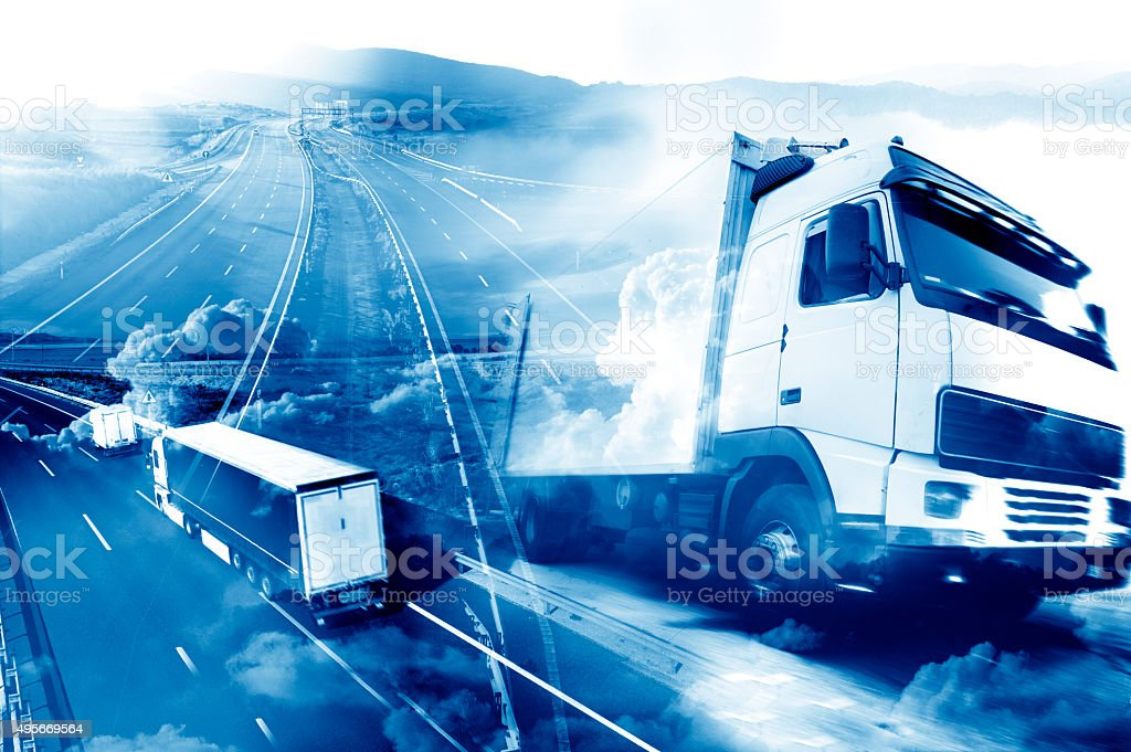 Abstract Design international shipment and highway stock photo