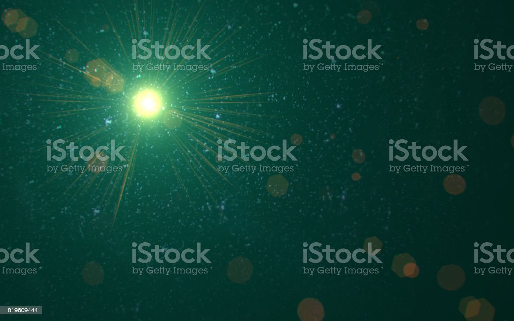 Abstract Design natural green lens flare and Rays background.Lens flare light over black background. easy to add overlay or screen filter over photos stock photo