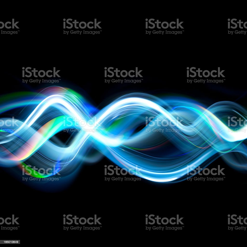Abstract design of twisted light beams on black background stock photo