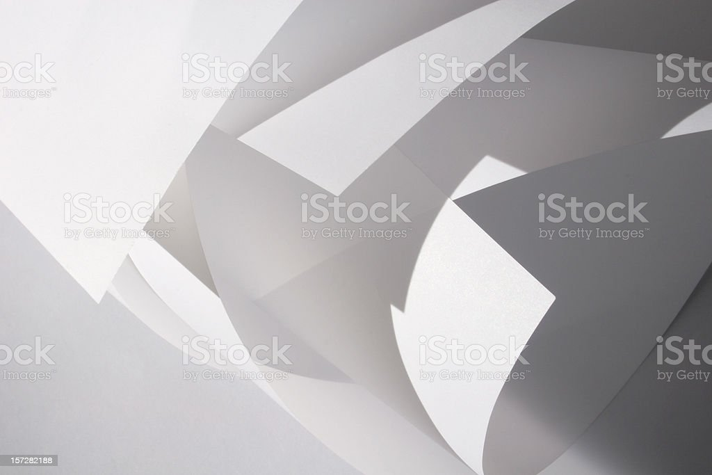Abstract Design of White Rolled Shapes stock photo