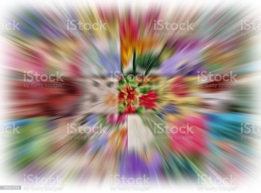 Abstract design using colored fabric with zoom effect applied. stock photo
