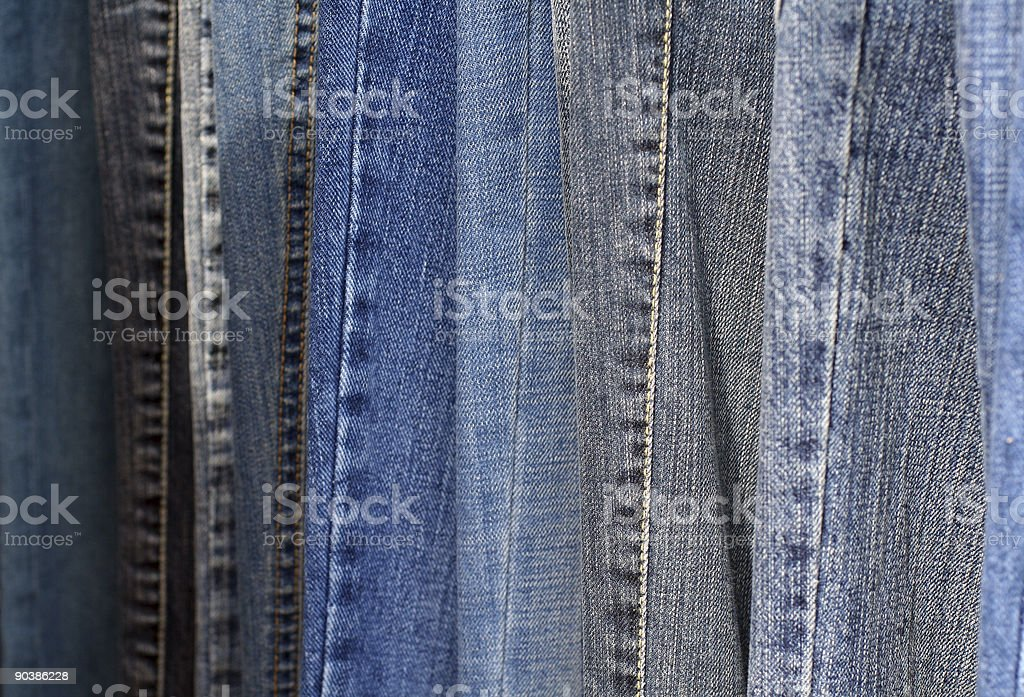 Abstract detail of blue jeans royalty-free stock photo