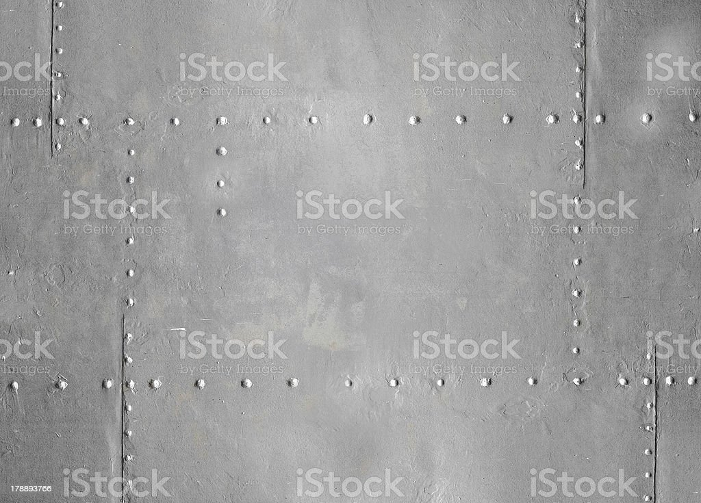 Abstract detailed blue metal wall background texture with seams stock photo