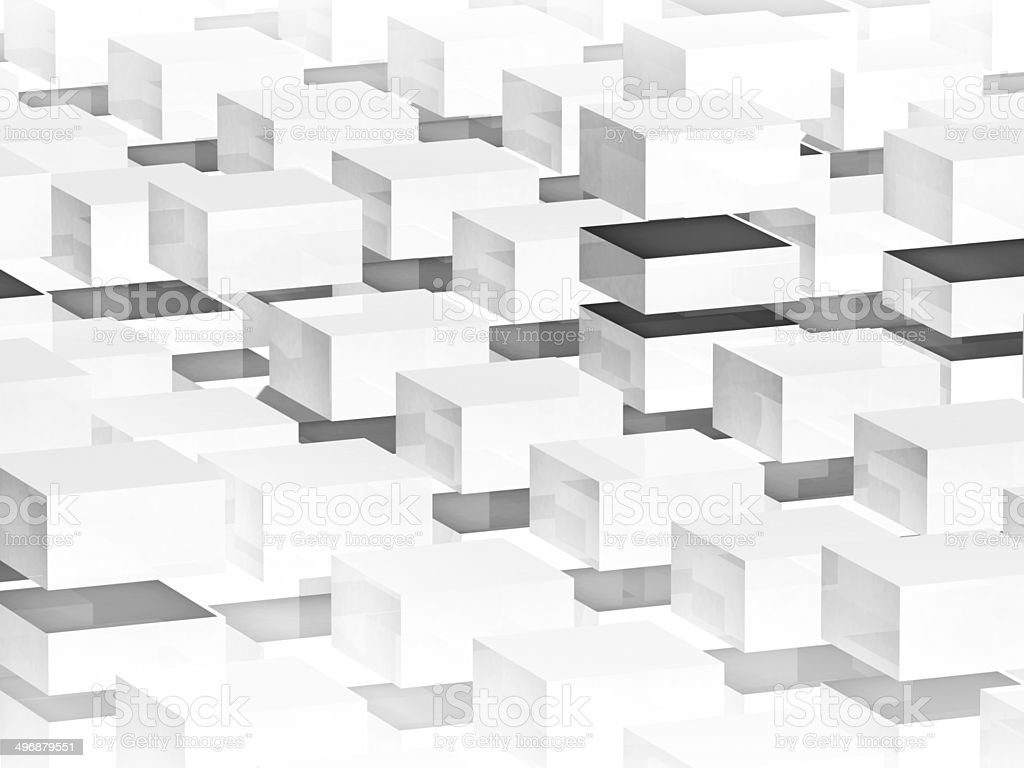 Abstract digital 3d background with white boxes pattern stock photo