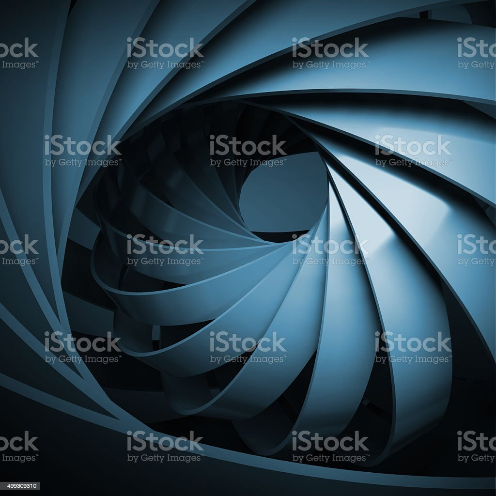 Abstract digital background with dark blue 3d spiral stock photo