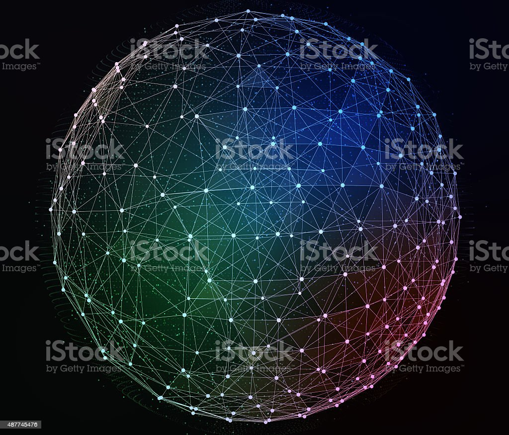 Abstract digital global network. Wire-frame illustration stock photo