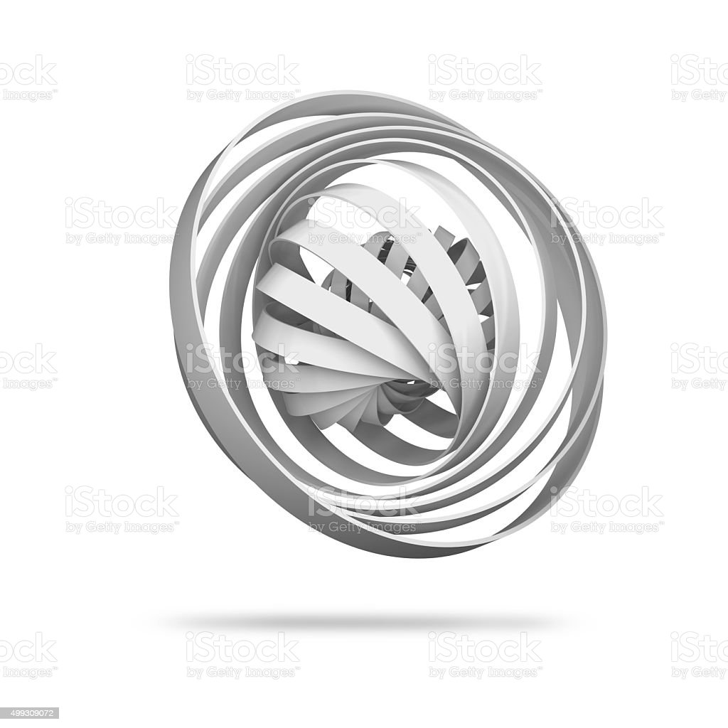 Abstract digital object made of 3d round spiral structures stock photo