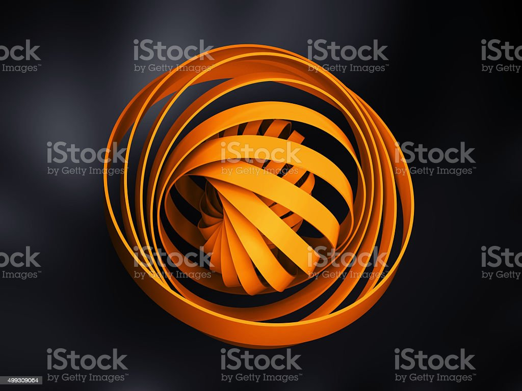 Abstract digital object made of yellow 3d round spiral stock photo