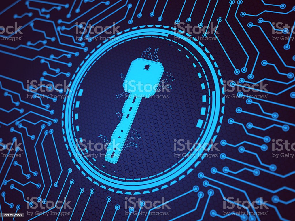 Abstract Digital security key stock photo