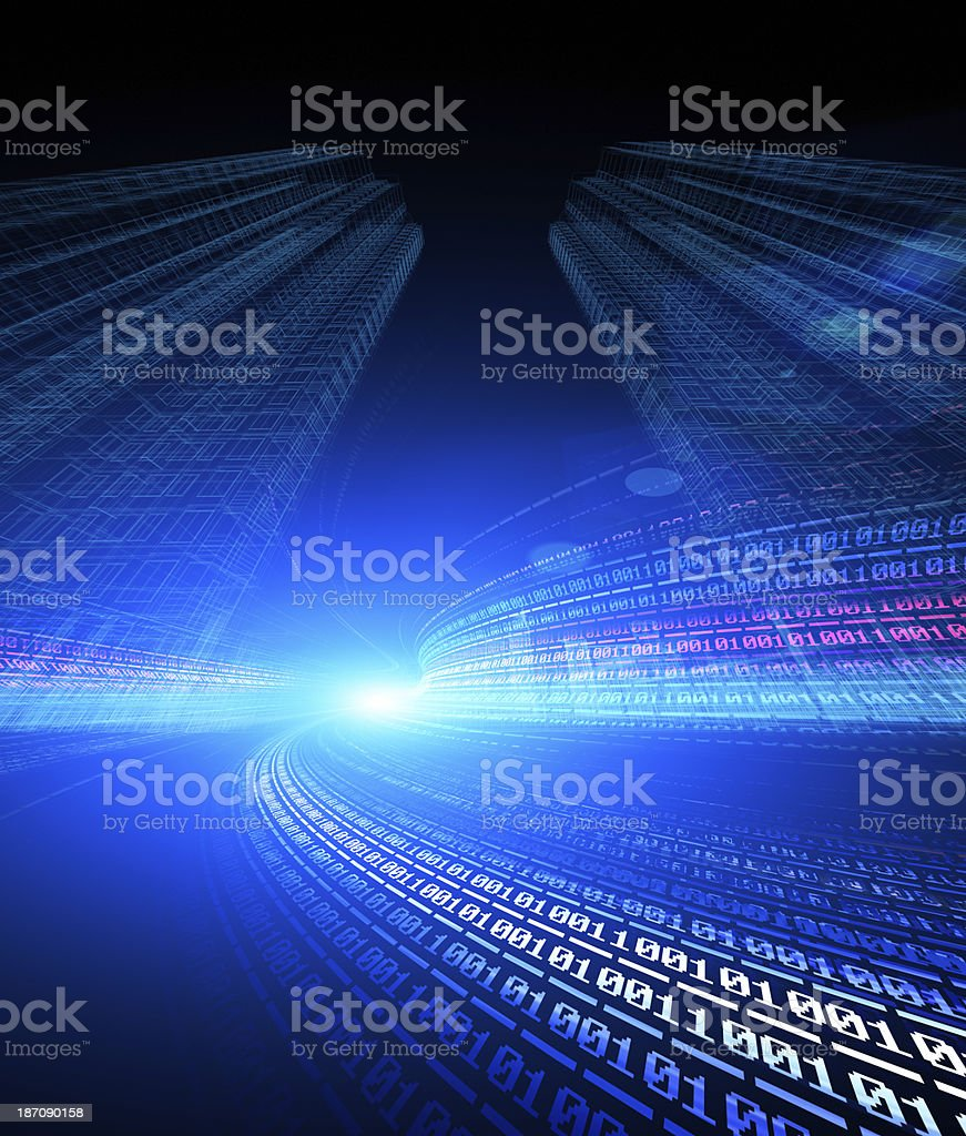 Abstract digital traffic, futuristic megalopolis royalty-free stock photo