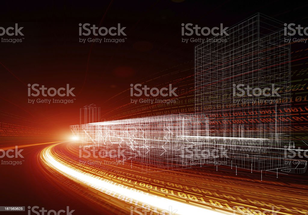 Abstract digital traffic, futuristic megalopolis royalty-free stock photo