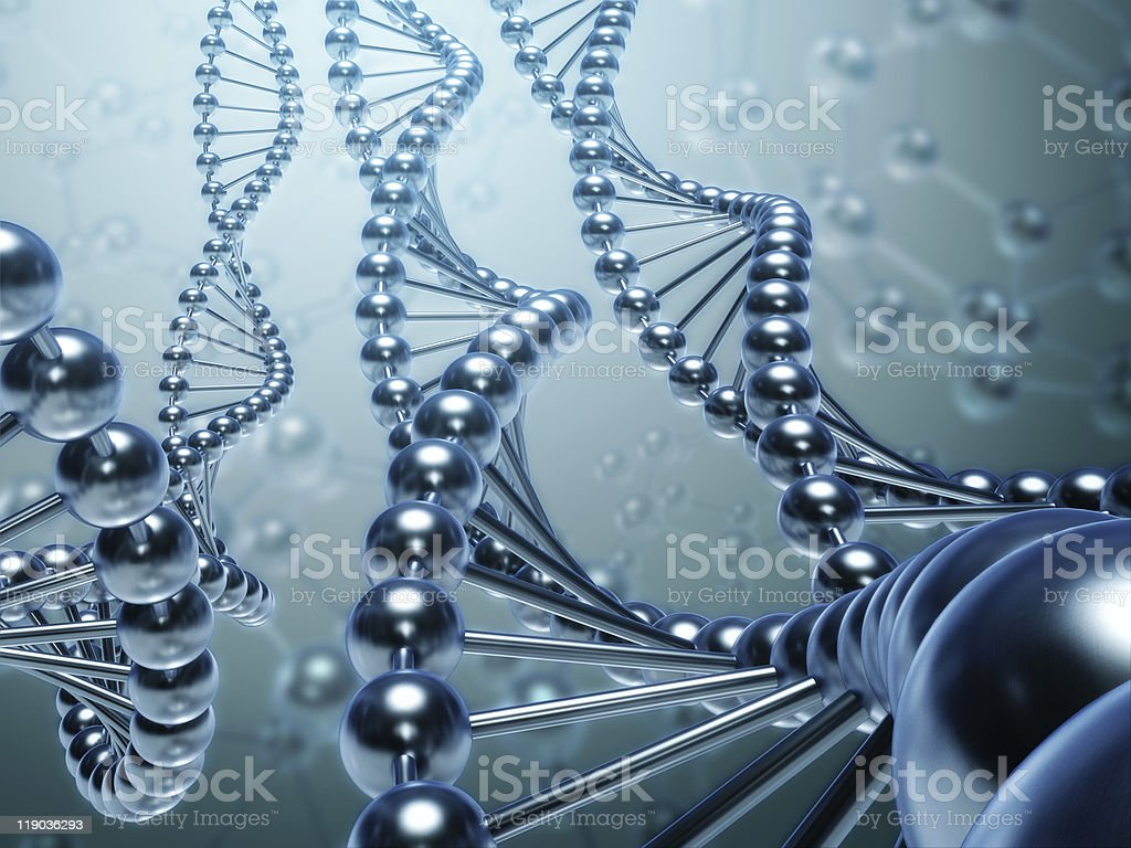 Abstract DNA concept in metallic colors stock photo