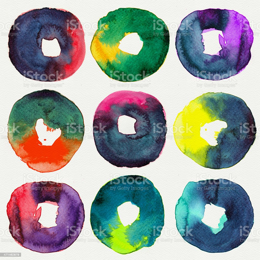 Abstract donut watercolor stock photo