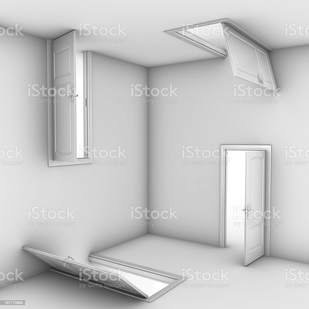 abstract doors 3d illustration stock photo