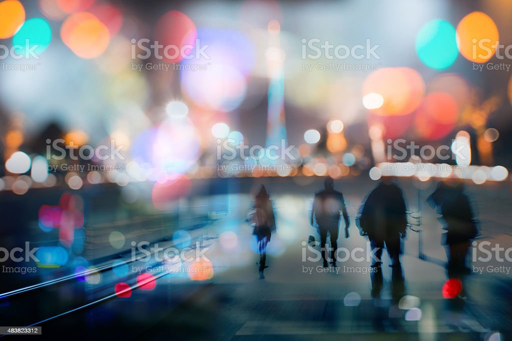 abstract double exposure business life at night of modern city stock photo