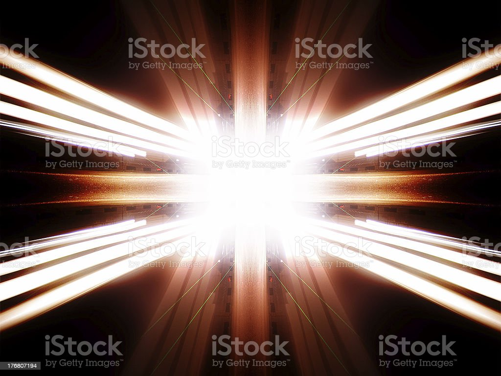 Abstract double symmetrical image of city skyline at night royalty-free stock photo