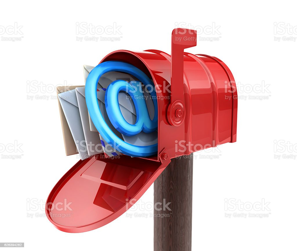 Abstract E-mail Red mailbox stock photo