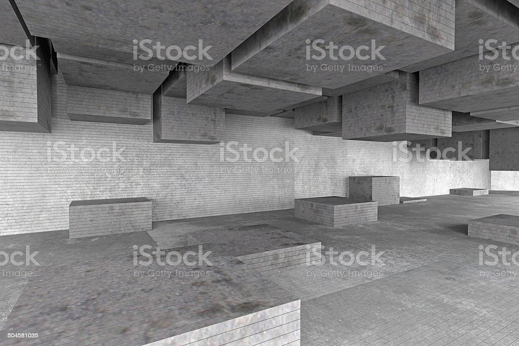 Abstract empty architecture space, dark gray concrete walls and shapes stock photo