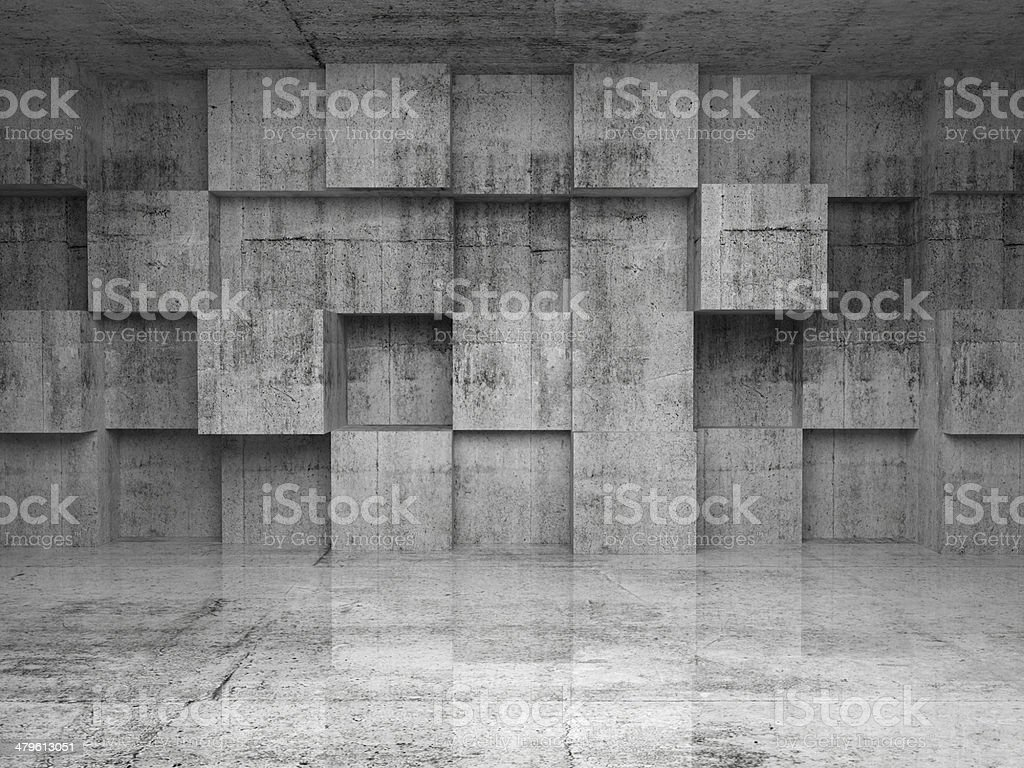 Abstract empty concrete interior with cubes on the wall stock photo
