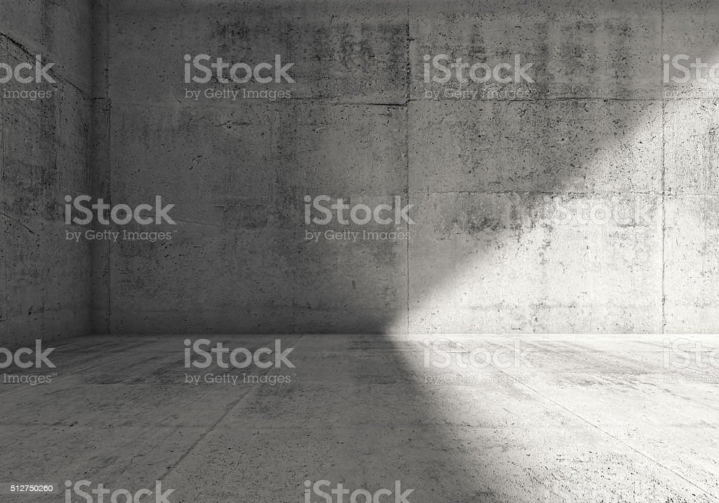 Abstract empty dark concrete room 3d interior stock photo