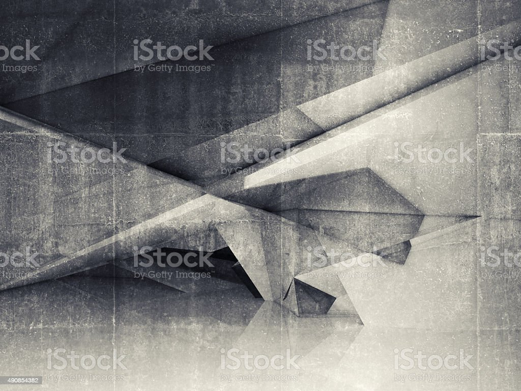 Abstract empty interior with polygonal structure stock photo