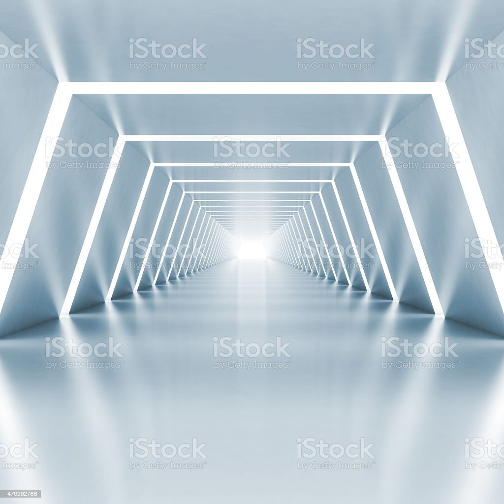 Abstract empty light blue shining corridor interior stock photo