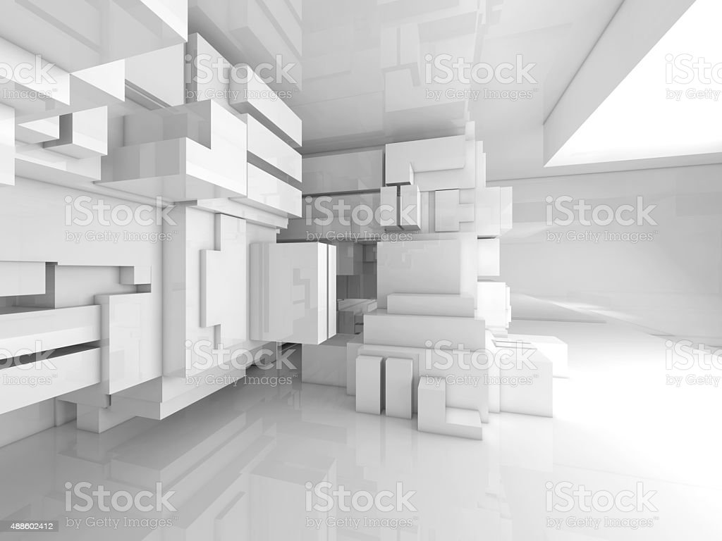 Abstract empty white room high-tech interior 3d stock photo