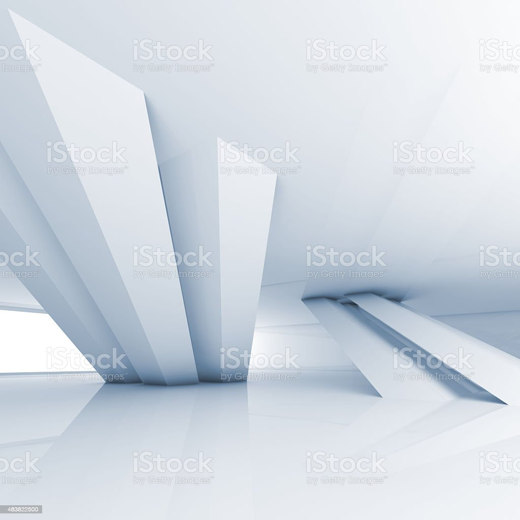 Abstract empty white room interior, 3d render vector art illustration