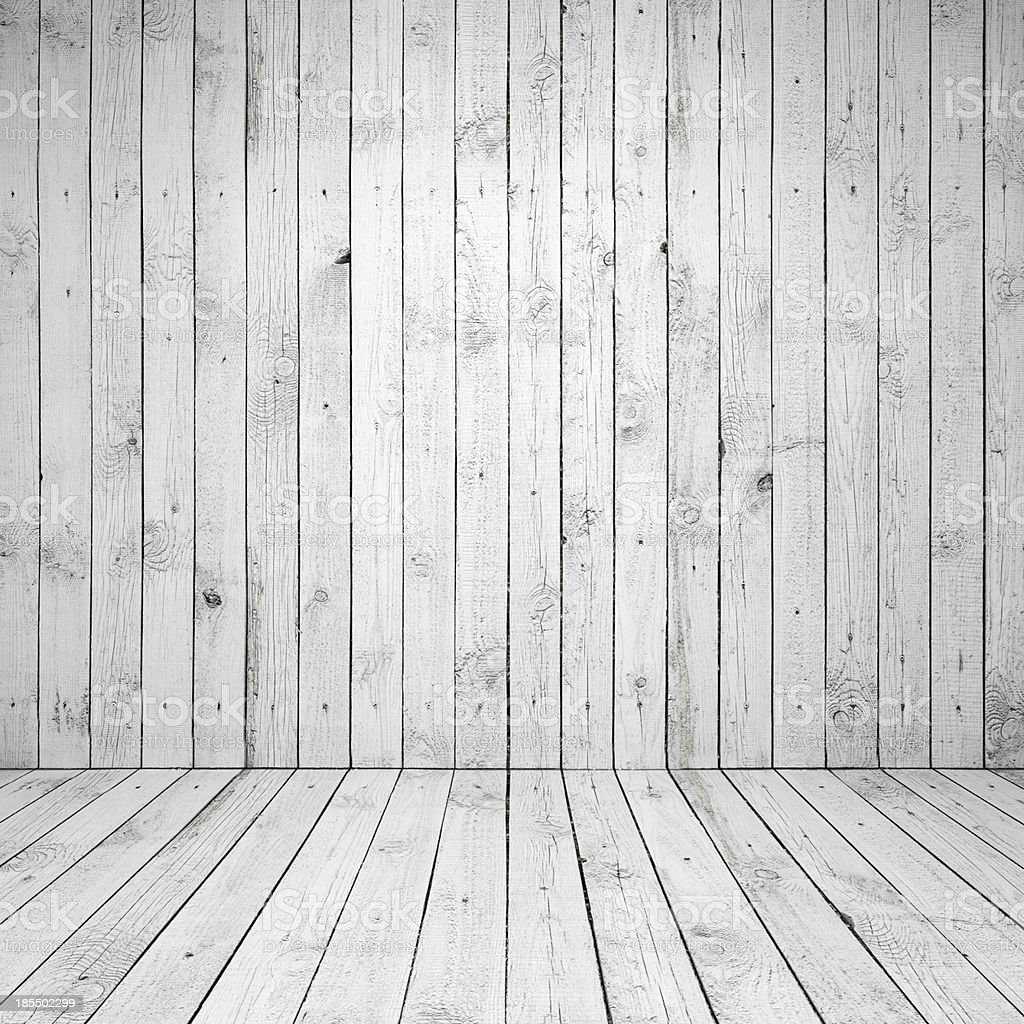 Abstract empty white room interior with wooden wall and floor stock photo
