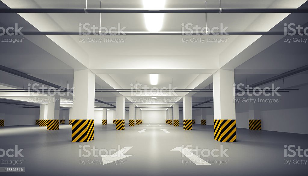 Abstract empty white underground parking interior stock photo