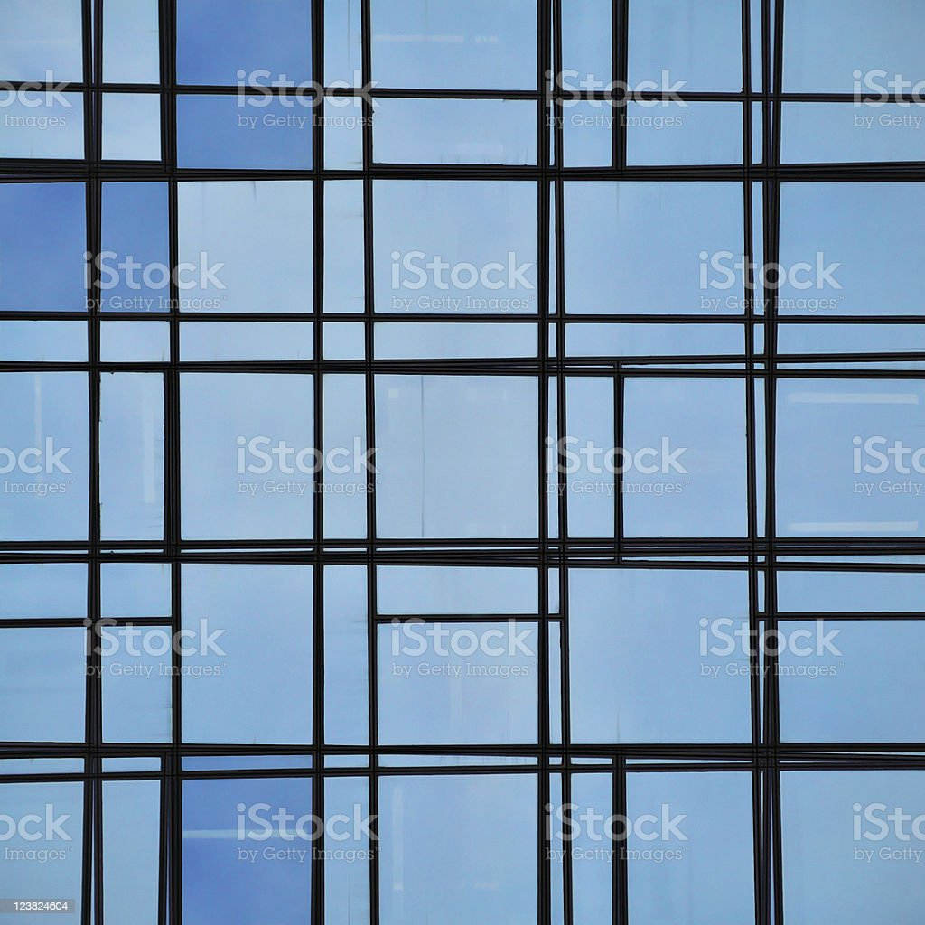 abstract facade lines and glass reflection royalty-free stock photo