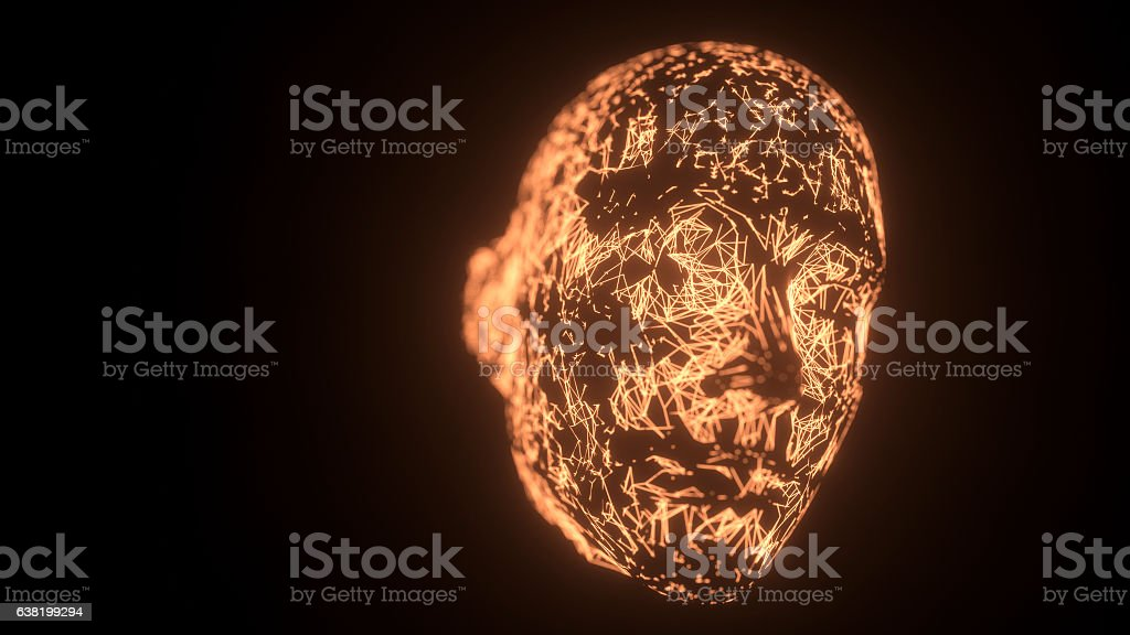 Abstract face with interconnected lines stock photo