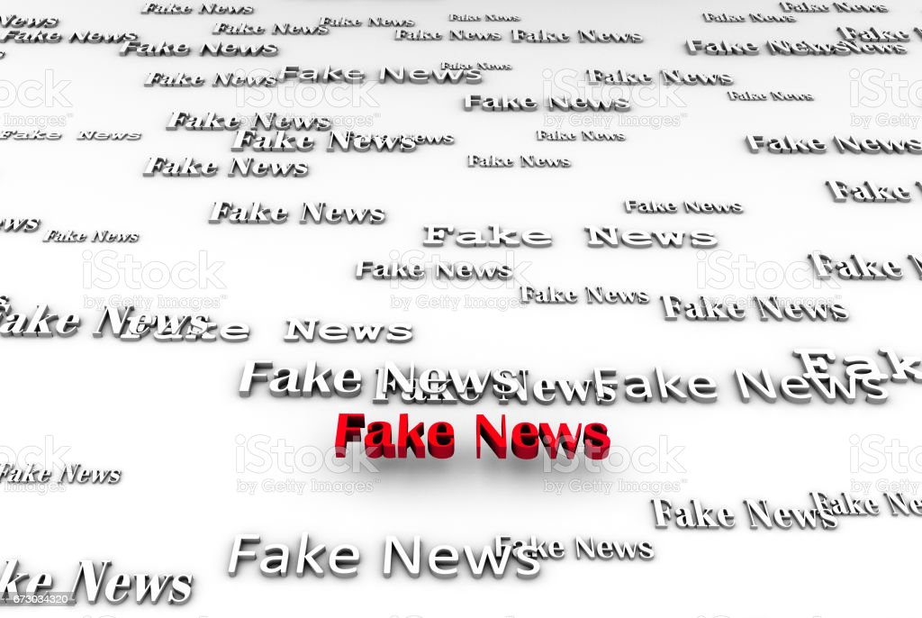abstract fake news on white background 3D rendering stock photo