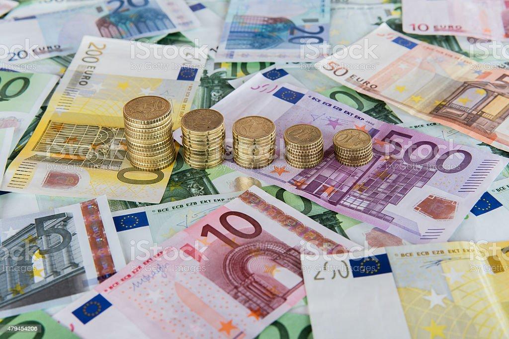 Abstract falling euro prognoses. stock photo