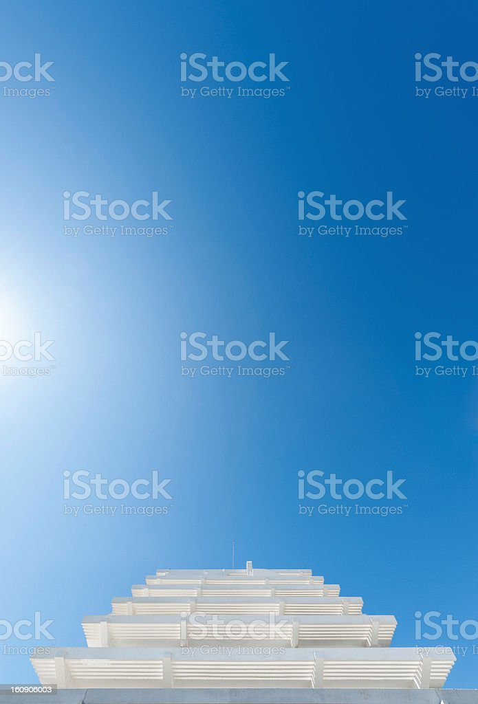 Abstract fascade of a building with beautiful blue sky royalty-free stock photo