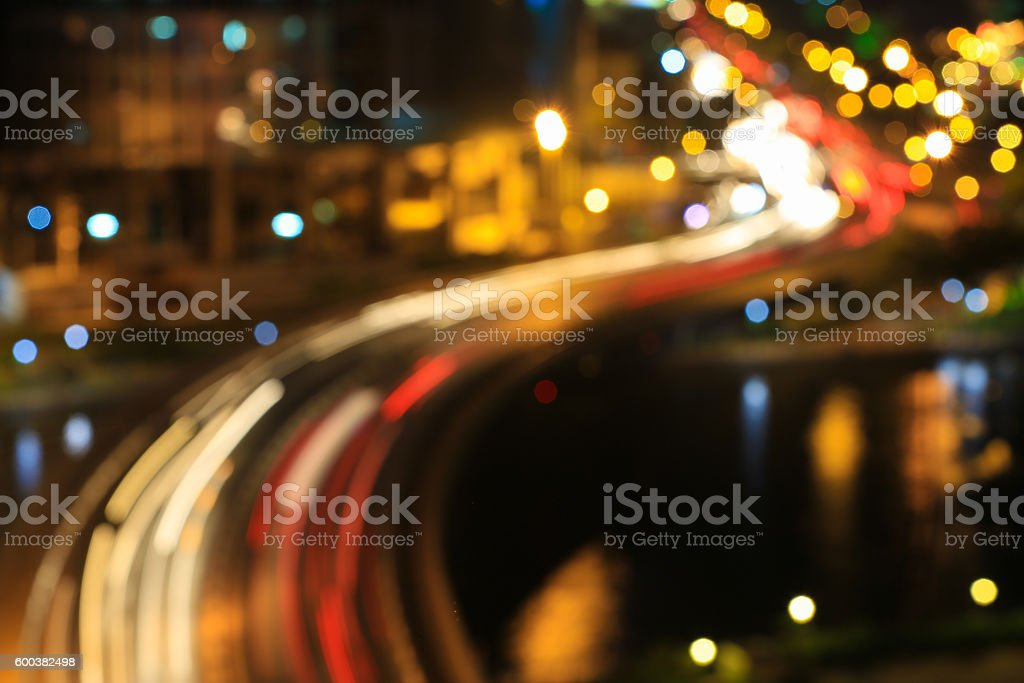 Abstract festive curves of bridges background with bokeh stock photo