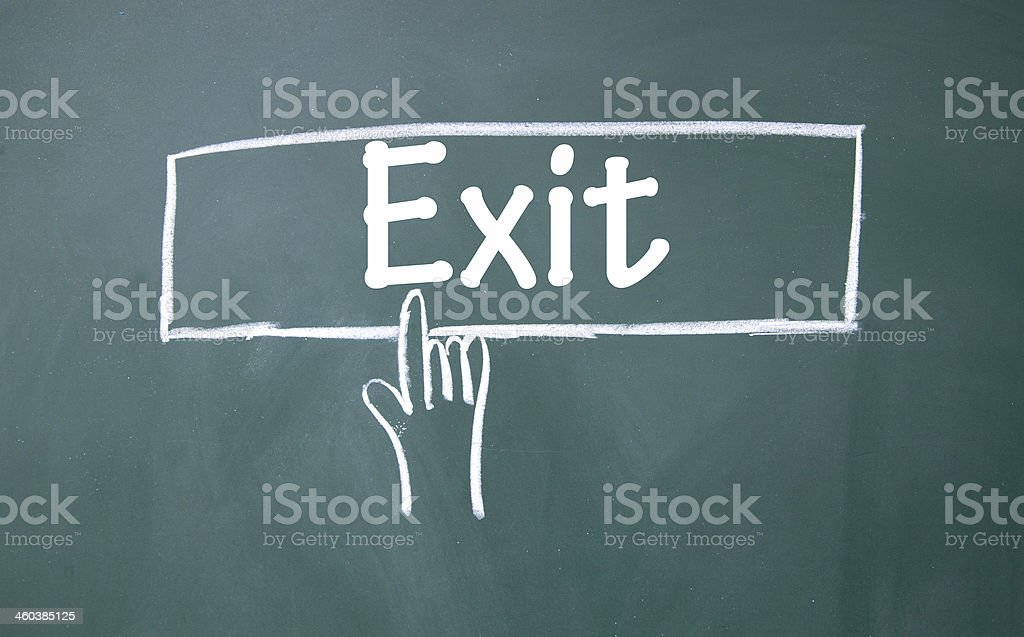 abstract finger click exit sign stock photo