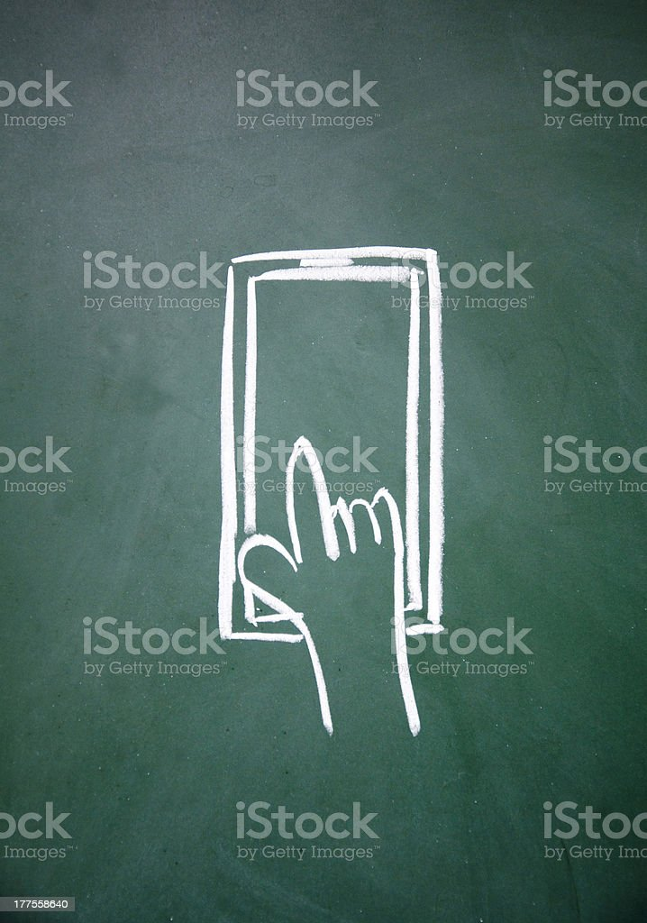 abstract finger touch phone drawn with chalk on blackboard royalty-free stock vector art