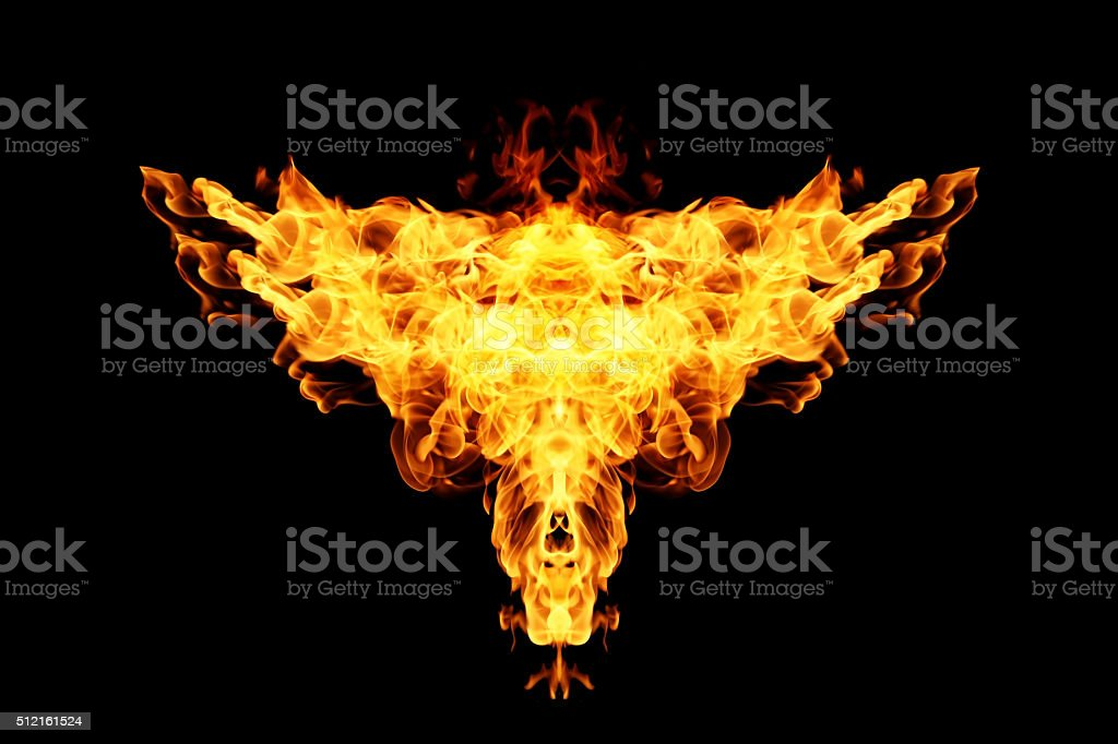Abstract Fire flame on black background stock photo
