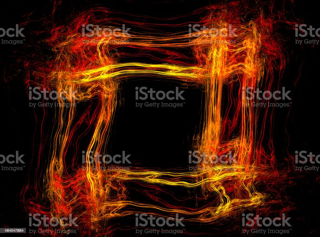 Abstract fire frame with copy space stock photo