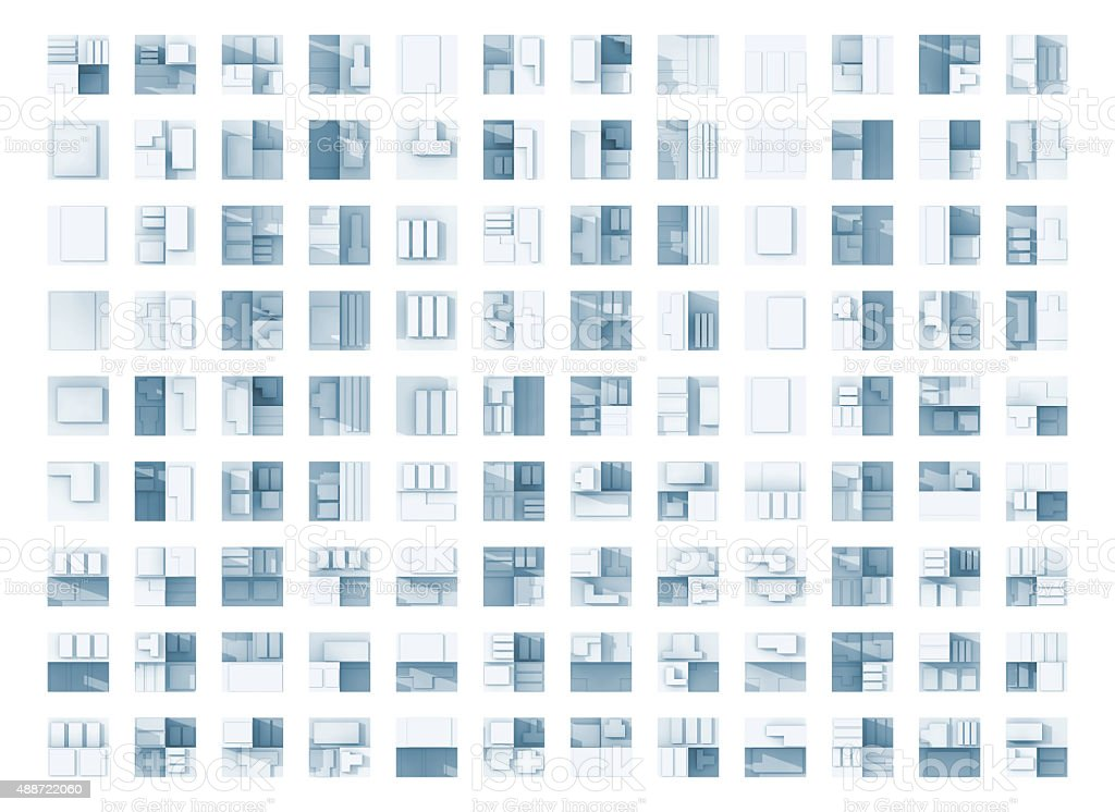 Abstract flat geometric blue square icons stock photo