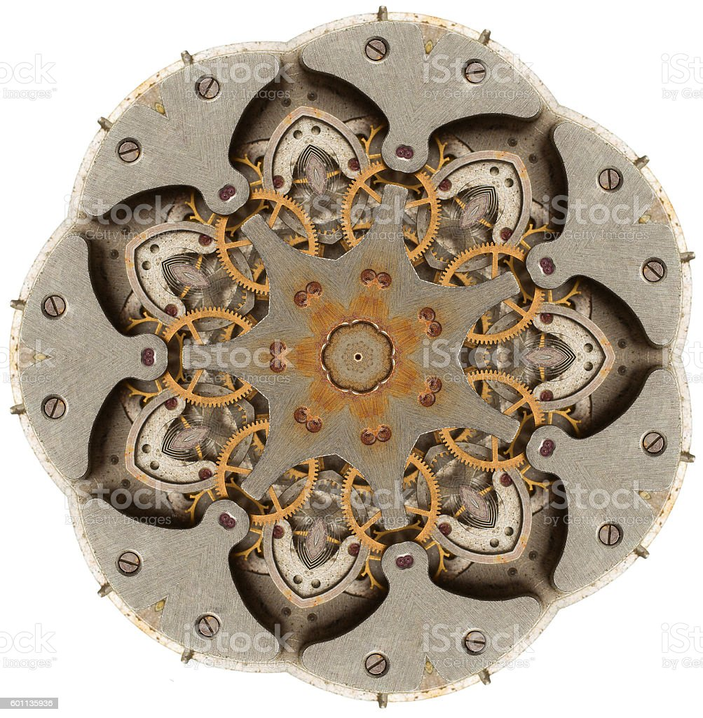 Abstract flower concept arrangements from the old mechanism stock photo