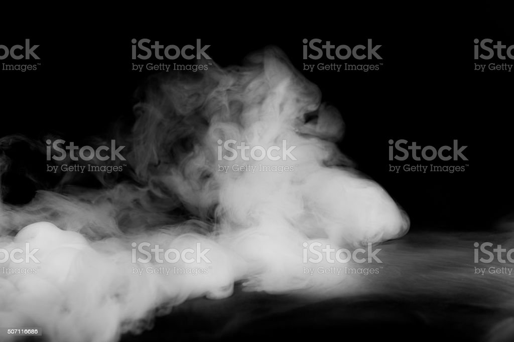 Abstract fog or smoke move on black color background stock photo