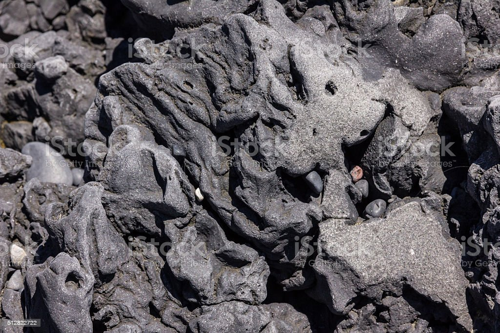 abstract formation of volcanic rock in vik beach iceland stock photo