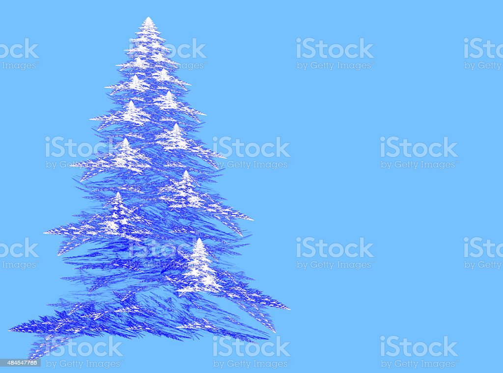 Abstract fractal Christmas tree with copy space stock photo