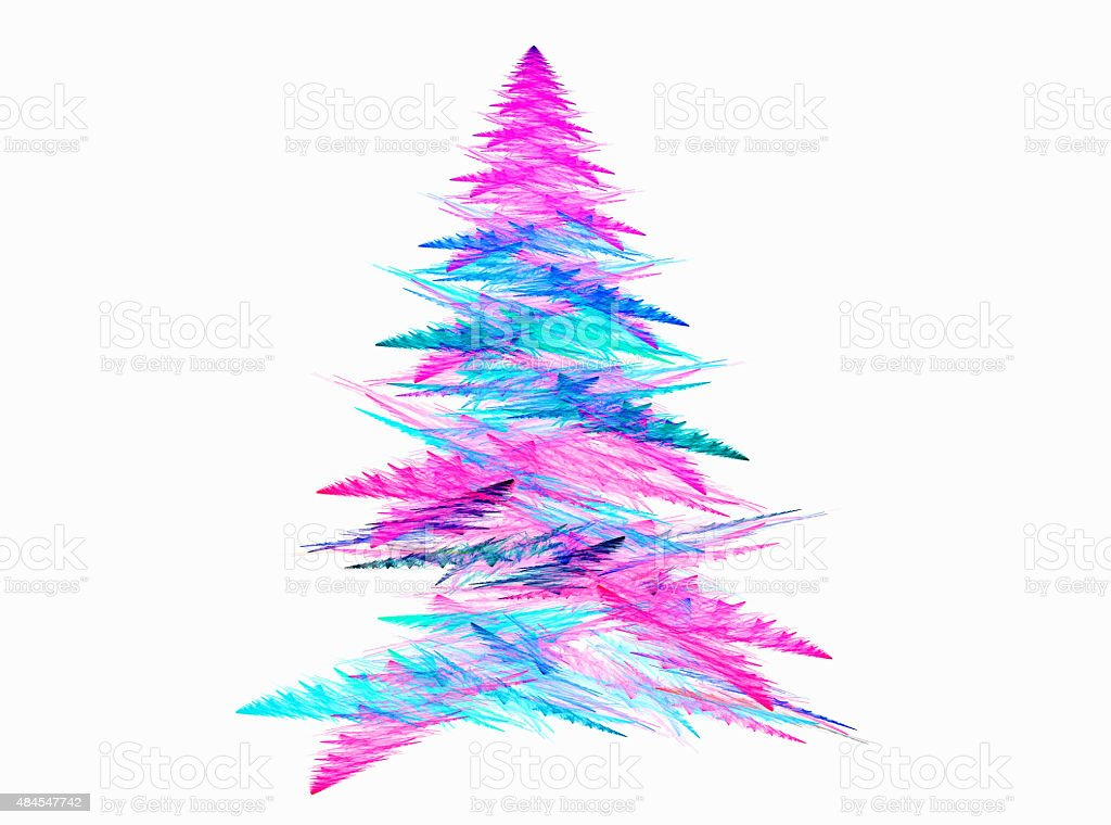 Abstract fractal Christmas tree with white backgound stock photo