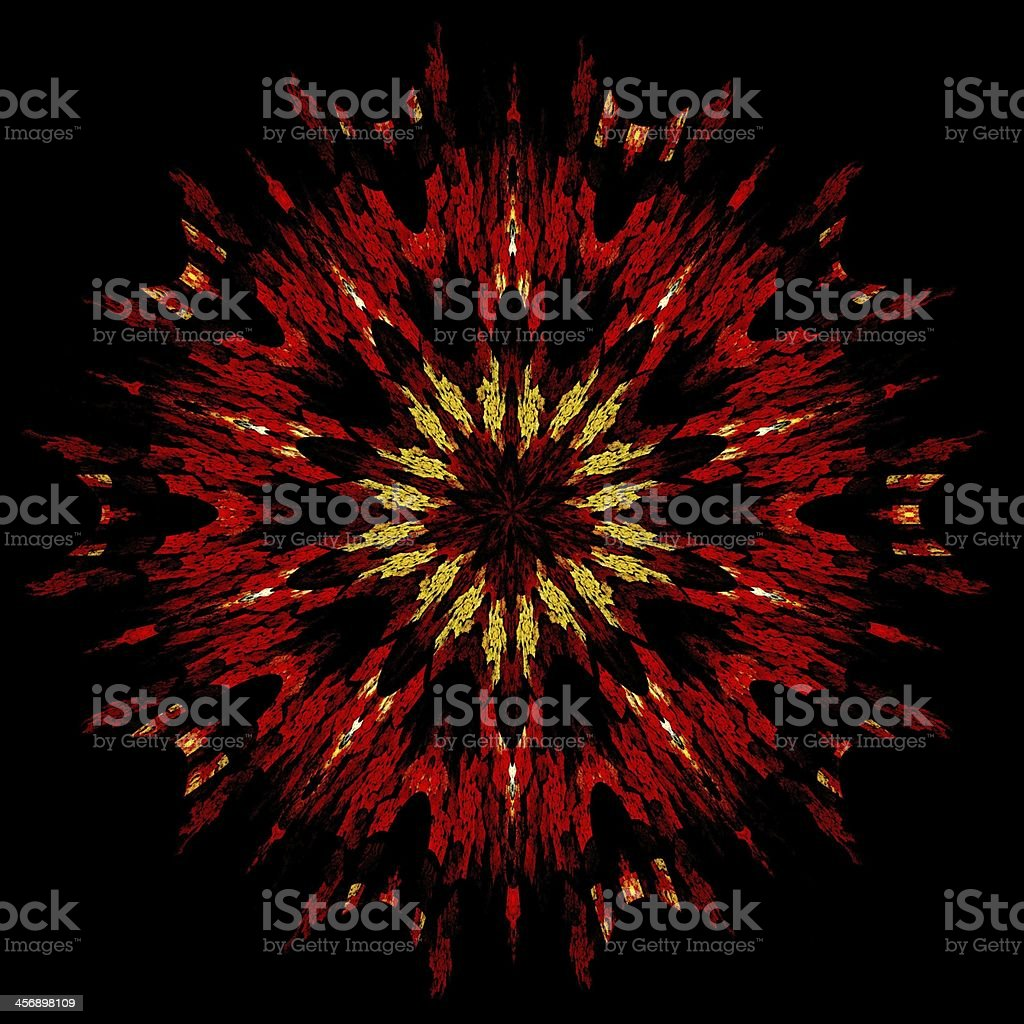 Abstract fractal image resembling a puffed colorful star flower royalty-free stock vector art