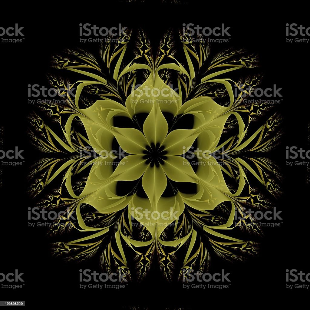 Abstract fractal image resembling a puffed colorful star flower royalty-free stock photo
