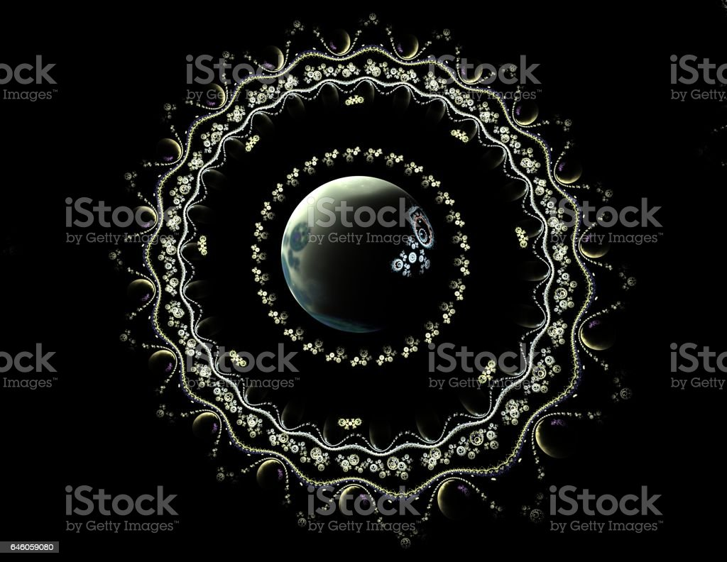 abstract fractal old silver lacy with pearls on black stock photo