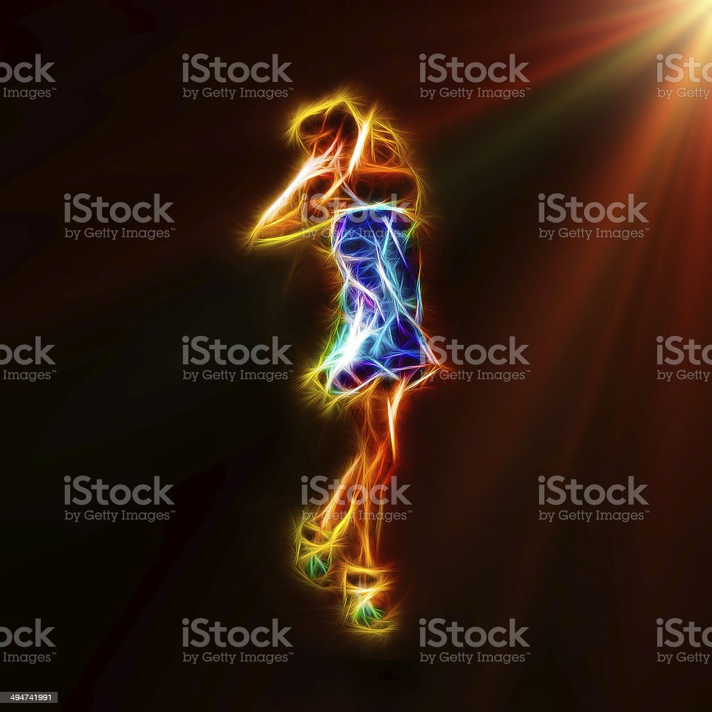 Abstract fractal pose of fashion model royalty-free stock photo